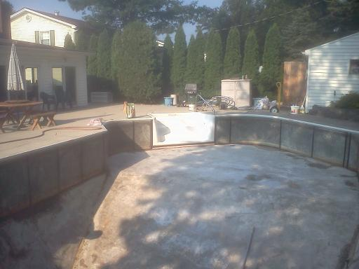 in ground pool with liner removed